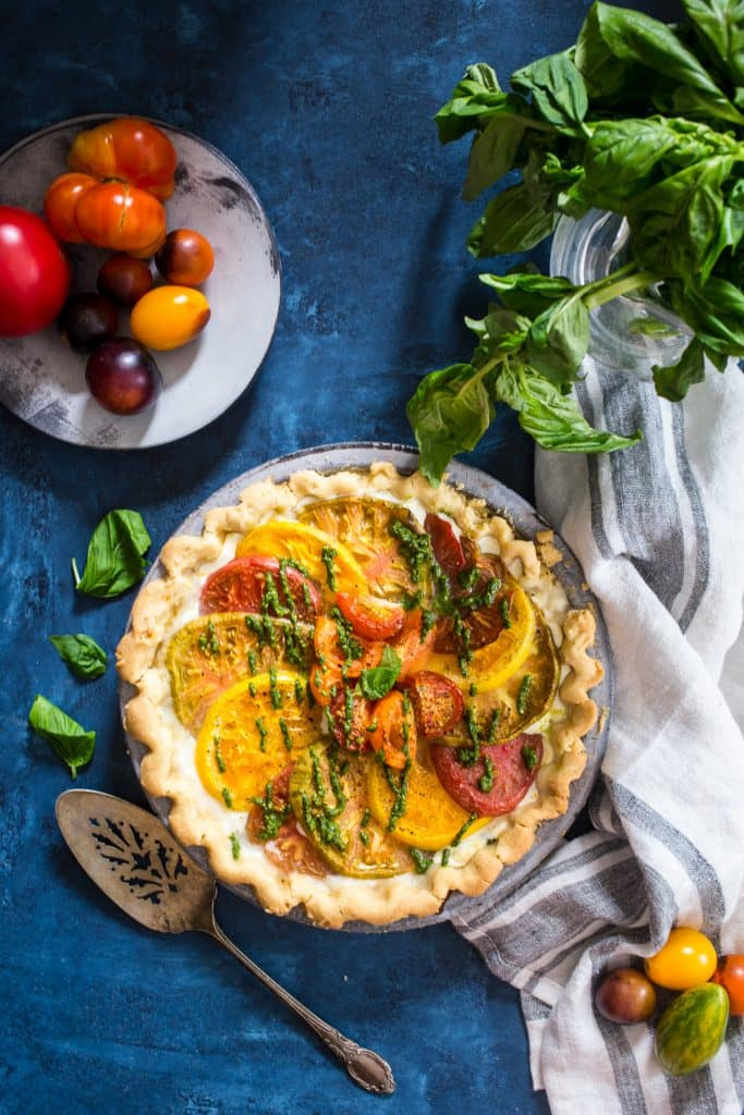 Caprese Tart with Olive Oil Crust | girlinthelittleredkitchen.com