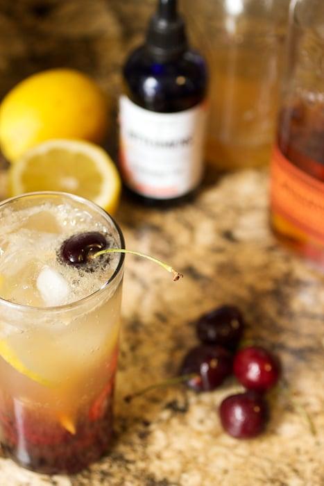 Cherry Bourbon Lemonade | The Girl In The Little Red KItchen