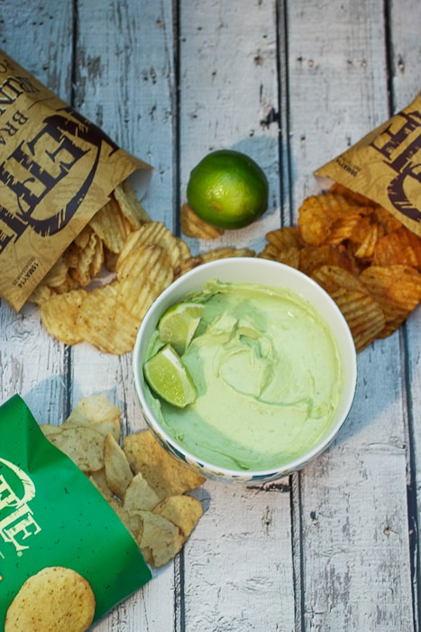 Avocado Lime Goat Cheese Dip - perfect dip for game day eats from The Girl In The Little Red Kitchen
