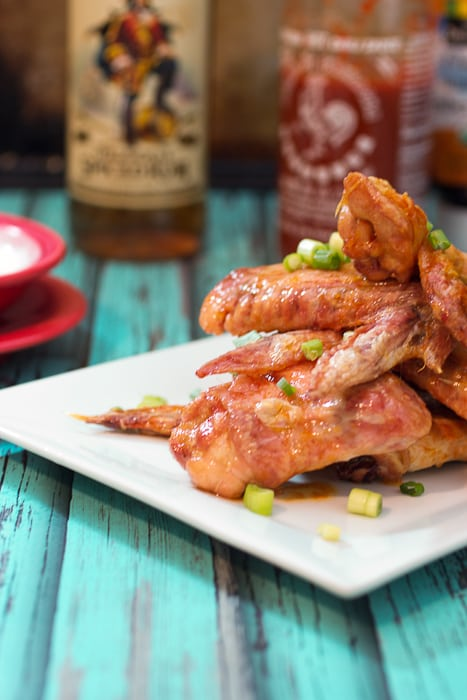 Honey Rum Sriracha Wings  from The Girl In The Little Red KItchen
