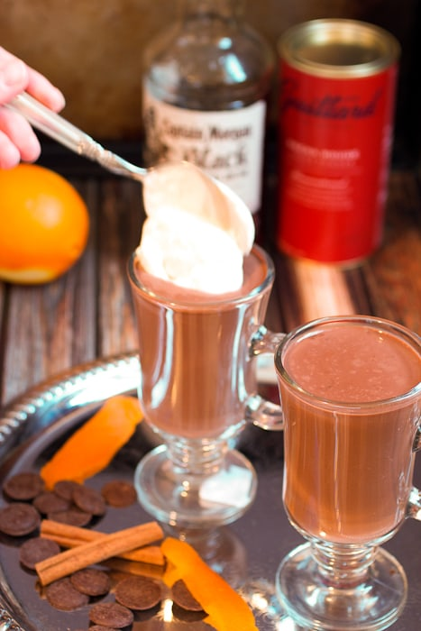 Orange Cinnamon Spiked Hot Chocolate a citrus spiced rum chocolate drink from The Girl In The Little Red Kitchen