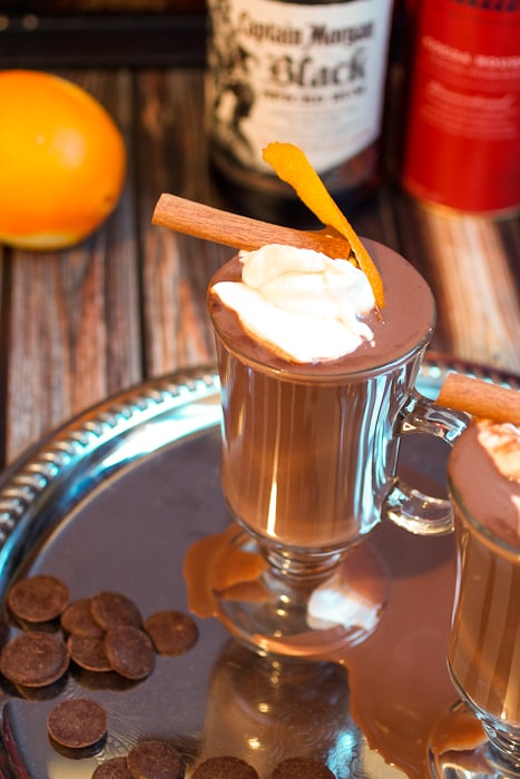 Orange Cinnamon Spiked Hot Chocolate a citrus cinnamon rum chocolate drink from The Girl In The Little Red Kitchen