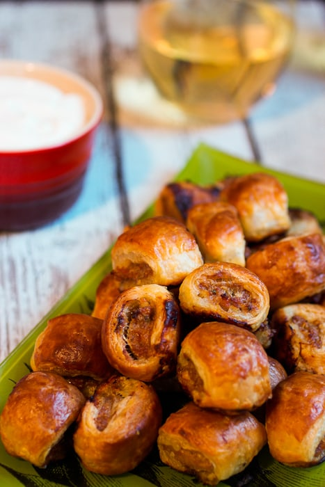 Spicy Sausage Rolls a great appetizer for the Big Game from The Girl In The Little Red Kitchen