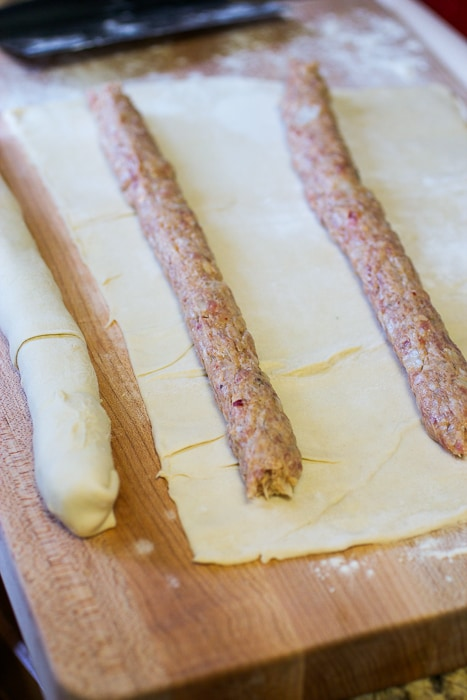 Spicy Sausage Rolls - how to prep the sausage rolls from The Girl In the Little Red Kitchen