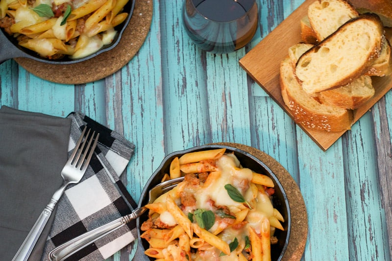 Baked Pasta with Sausage and Fontina perfectly portioned for two from The Girl In The Little Red Kitchen