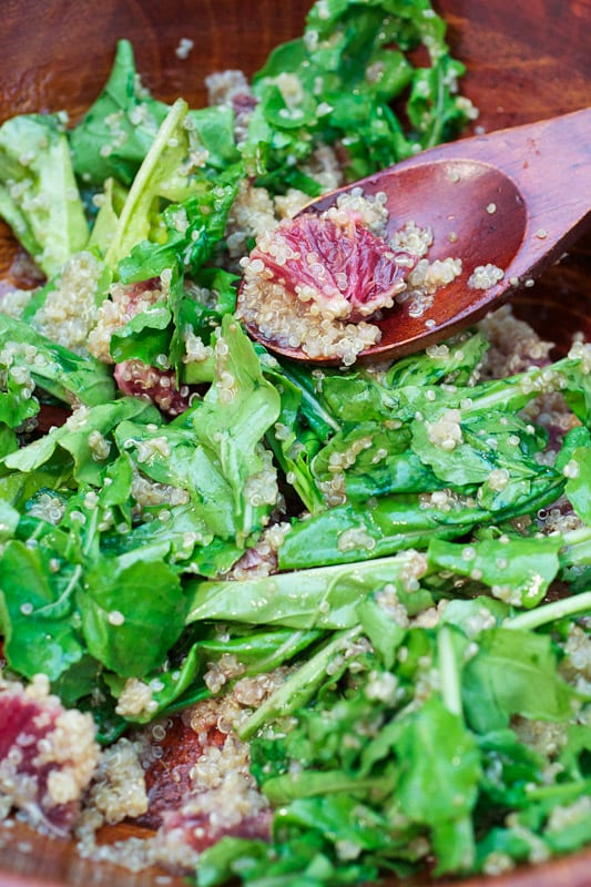 Blood Orange, Quinoa and Arugula Salad from The Girl In The Little Red Kitchen