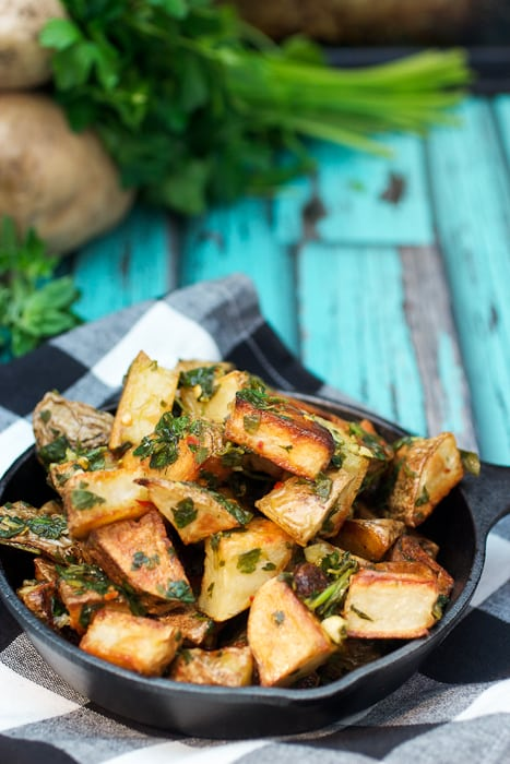 Chimichurri Roast Potatoes | girlinthelittleredkitchen.com