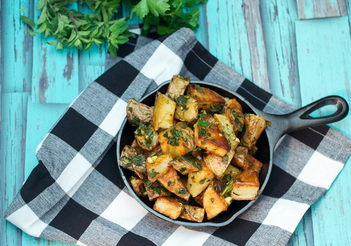 Chimichurri Roast Potatoes from The Girl In The Little Red Kitchen