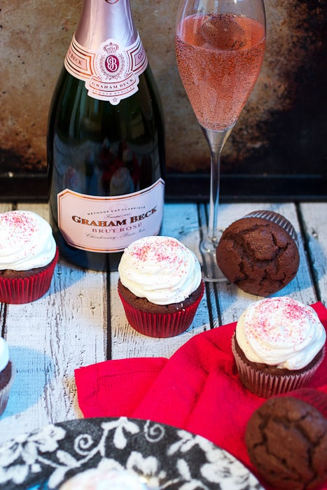 Chocolate Champagne Cupcakes from The Girl In The Little Red Kitchen