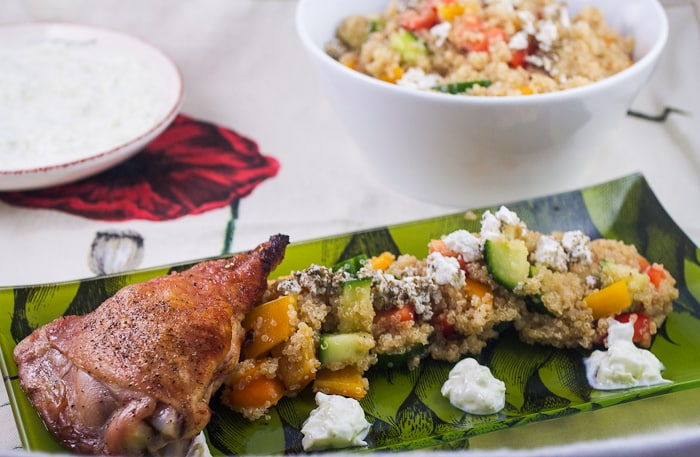 Greek Chicken Quinoa Salad with Tzatziki Sauce #WorldDiabetes