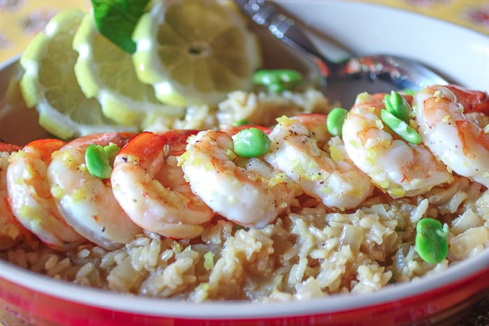 Lemon Risotto with fava beans and shrimp - 6