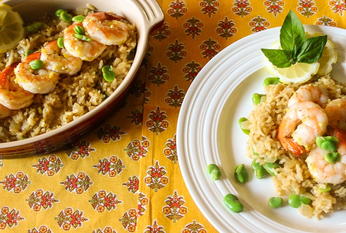 Lemon Risotto with fava beans and shrimp - 7