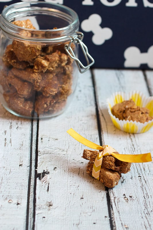 Peanut Butter and Banana Dog Treats from The Girl In The Little Red Kitchen