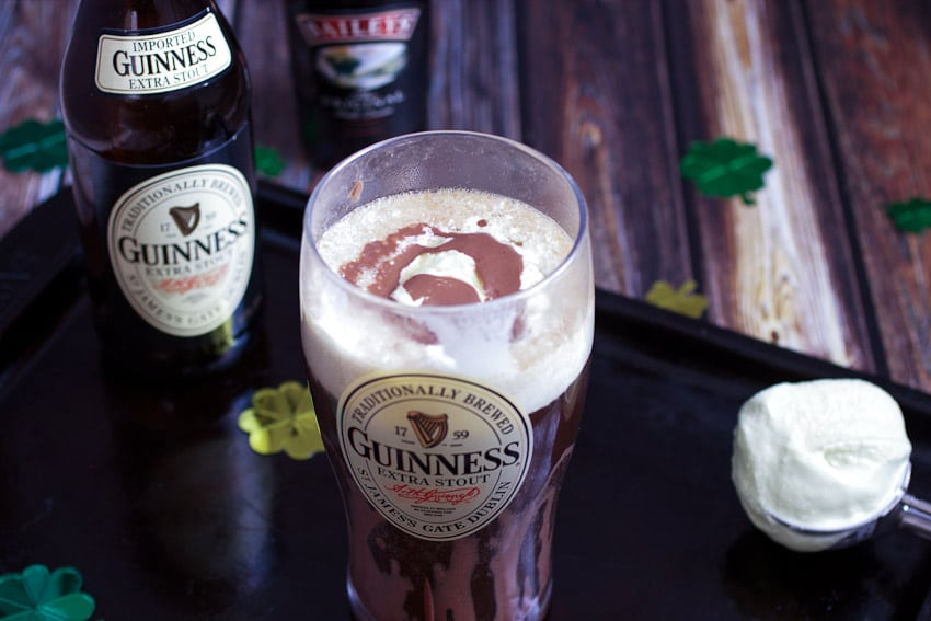 Baileys Mint Ice Cream and Chocolate Stout Float from The Girl In The Little Red Kitchen