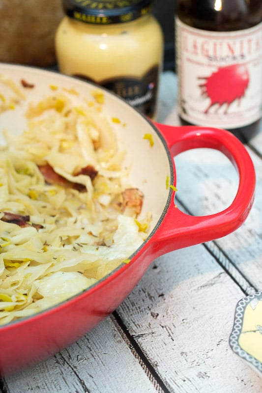 Beer Braised Cabbage with Bacon from The Girl In The Little Red Kitchen