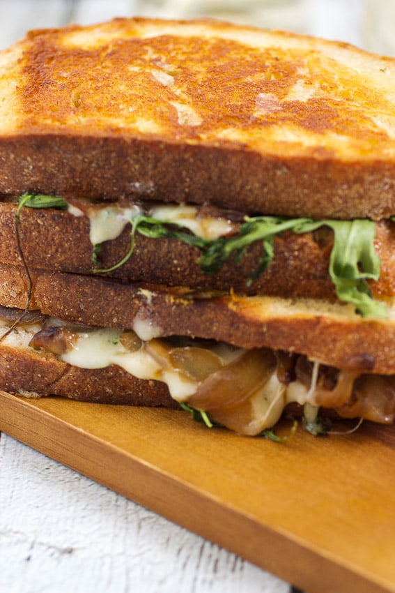 Caramelized Onion, Mushroom and Arugula Grilled Cheese from The Girl In The Little Red Kitchen