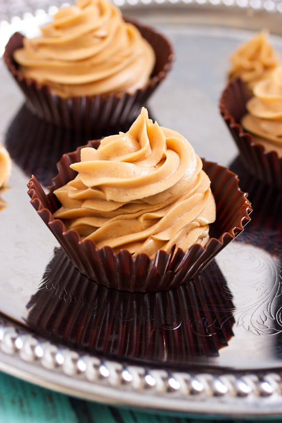 Dark Chocolate Peanut Butter Mousse Cups from The Girl In The Little Red Kitchen