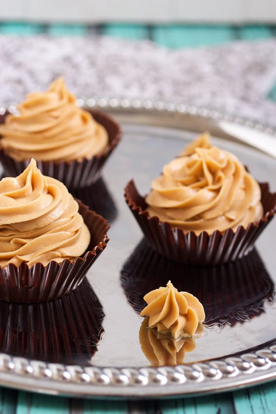 Dark Chocolate Peanut Butter Mousse Cups for #ChocPBDay from The Girl In The Little Red Kitchen