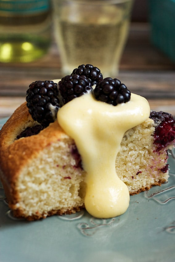 Blackberry Almond Cake with Moscato Zabaione #SundaySupper from The Girl In The Little Red Kitchen