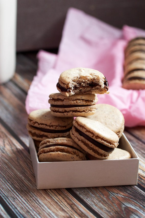 Chocolate Hazelnut Macarons from The Girl In The Little Red Kitchen