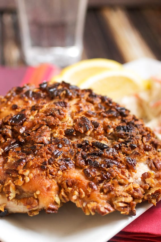 Pecan Crusted Chicken from The Girl In The Little Red Kitchen