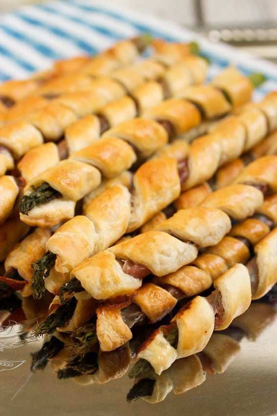Puff Pastry and Prosciutto Wrapped Asparagus from The Girl In The Little Red Kitchen