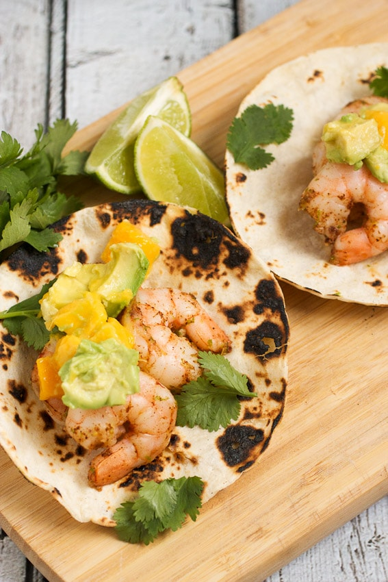 Shrimp, Avocado and Mango Tacos from The Girl In The Little Red Kitchen