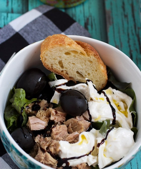 Tuna, Burrata and Black Olive Salad #SundaySupper