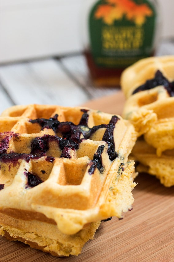 Blueberry Cornmeal Waffles from The Girl In The Little Red Kitchen
