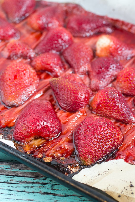 Dutch Baby with Roasted Strawberries from The Girl In The Little Red Kitchen