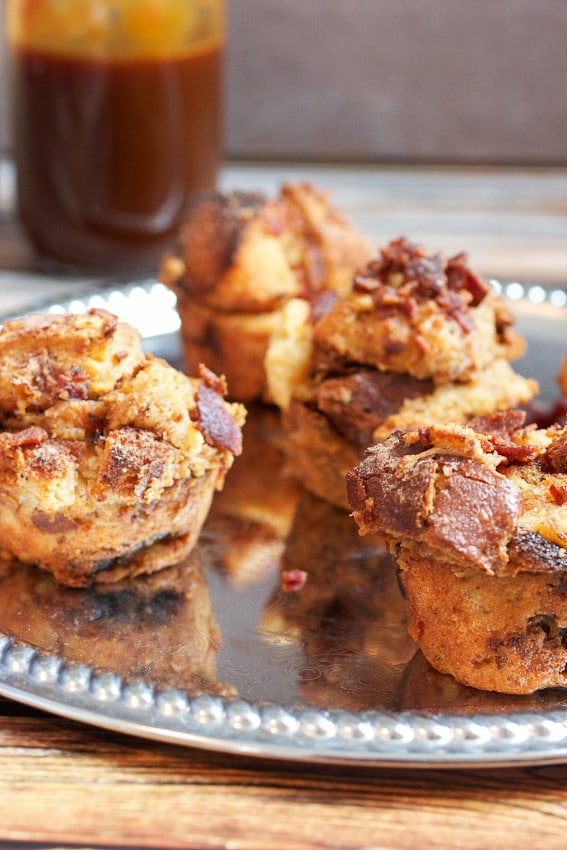 Individual Bourbon Bacon Bread Pudding from The Girl In The Little Red Kitchen