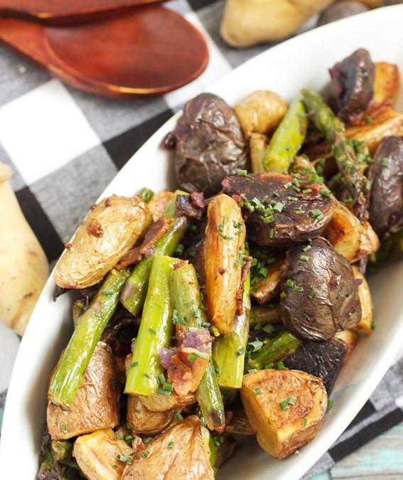 Roasted Fingerling and Asparagus Potato Salad #SundaySupper