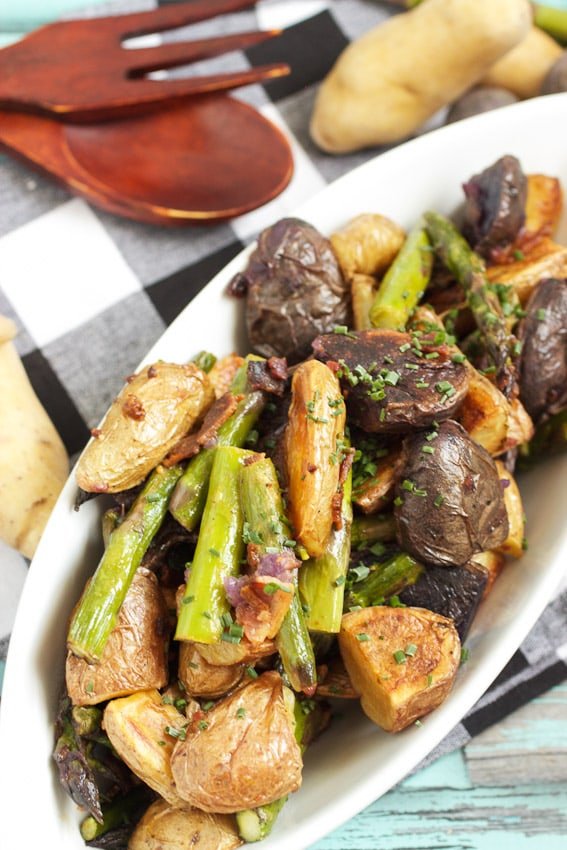 Roasted Fingerling and Asparagus Potato Salad | girlinthelittleredkitchen.com