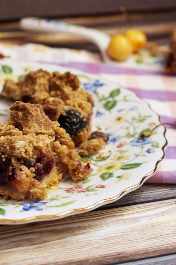 Cherry Pie Crumb Bars from The Girl In The Little Red KItchen