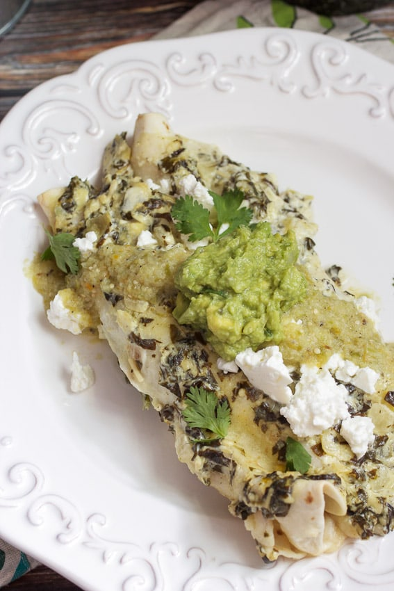 Chicken Spinach and Artichoke Enchiladas from The Girl In The Little Red Kitchen