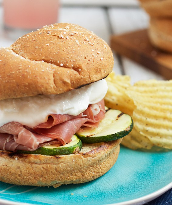 Grilled Zucchini, Prosciutto and Burrata Sandwiches