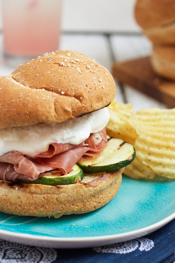 Grilled Zucchini, Prosciutto and Burrata Sandwiches from The Girl In The Little Red Kitchen