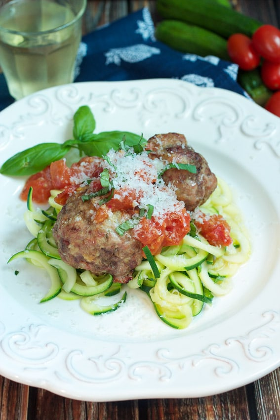 Meatballs with Vegetables Noodles and Fresh Tomato Sauce #ChooseDreams #SundaySupper from The Girl In The Little Red Kitchen