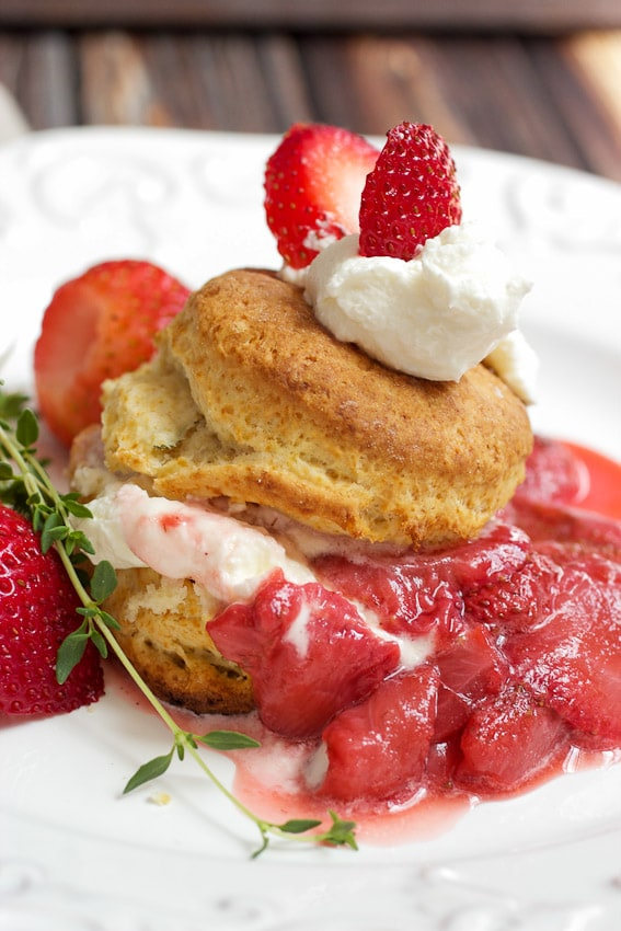Strawberry Thyme Shortcake from The Girl In The Little Red Kitchen