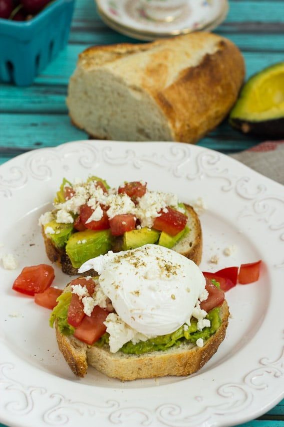 Avocado Tomato and Feta Toast from The Girl In The Little Red Kitchen