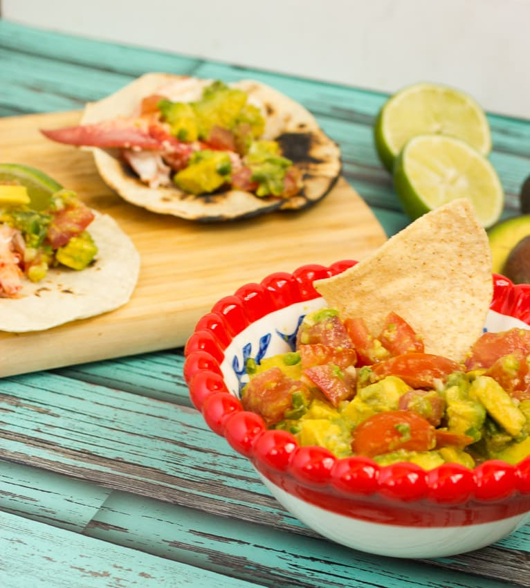 Lobster Tacos with Avocado Salsa from The Girl In The Little Red Kitchen