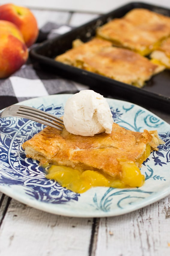 Peach Slab Pie from The Girl In The Little Red Kitchen