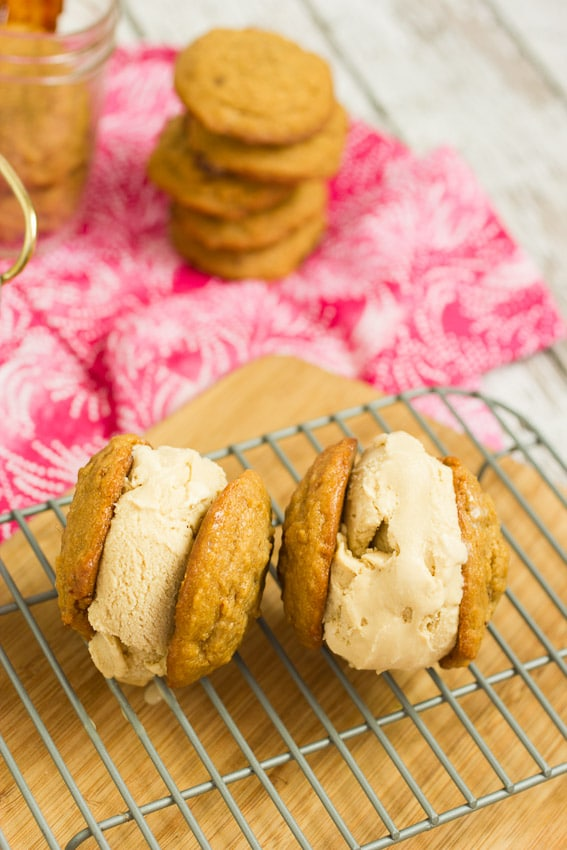 Maple Bacon Bourbon Brown Sugar Ice Cream Sandwiches from The Girl In The Little Red Kitchen