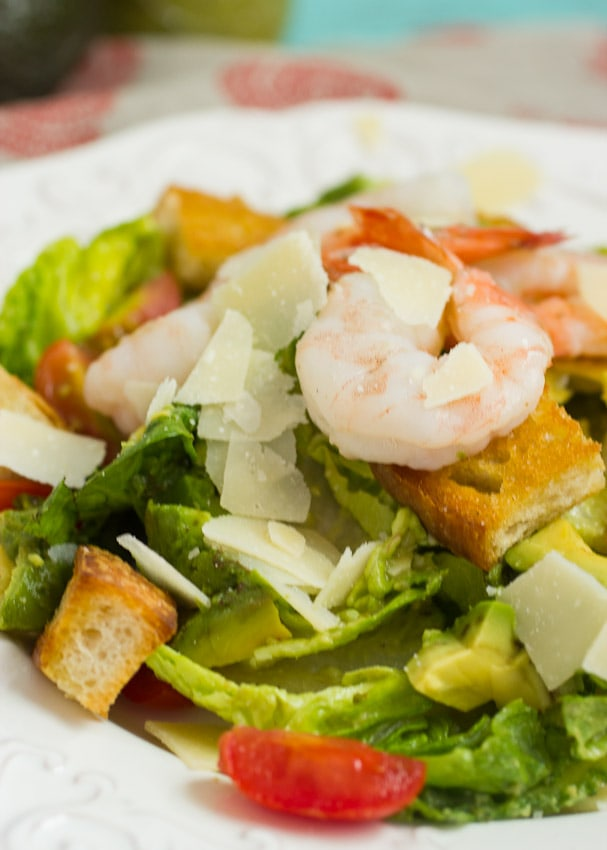 Shrimp Avocado Caesar Salad from The Girl In The Little Red Kitchen