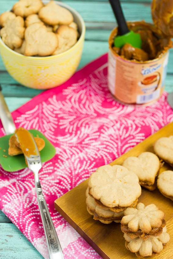 Cinnamon Dulce de Leche Spritz Sandwich Cookies from The Girl In The Little Red Kitchen