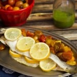 Roasted Branzino and Tomatoes with Lemon Basil Sauce