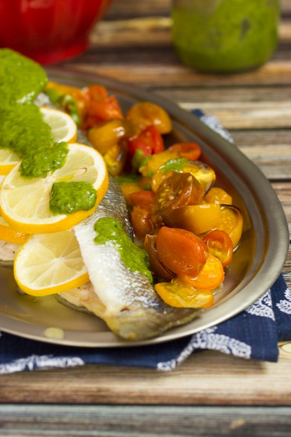 Roasted Branzino and Tomatoes with Lemon Basil Sauce - The Girl In The Little Red Kitchen