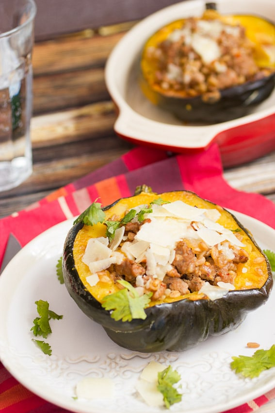 Sausage and Farro Stuffed Squash- The Girl In The Little Red Kitchen