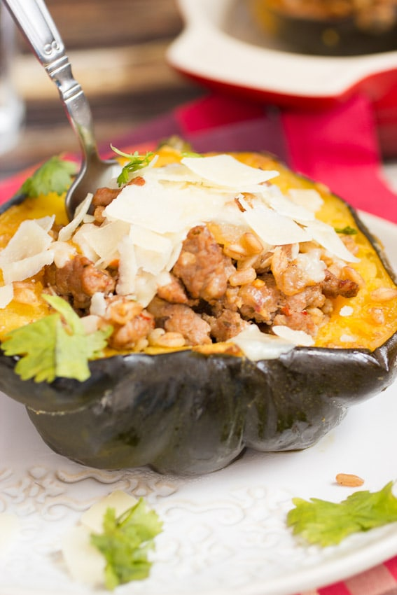 Sausage and Farro Stuffed Squash #SundaySupper from The Girl In The Little Red Kitchen