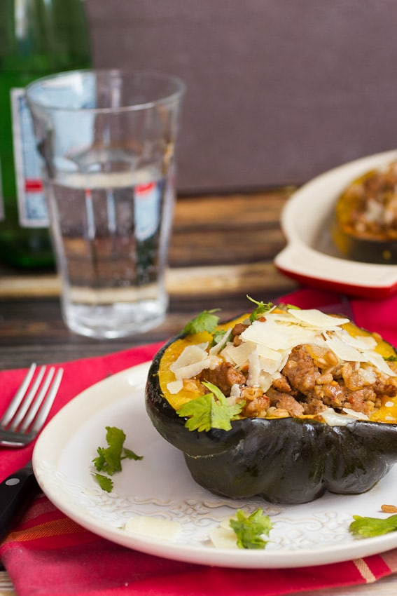 Sausage and Farro Stuffed Squash from The Girl In The Little Red Kitchen